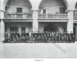 Class of 1912 upon reporting the beginning of the 1908-1909 academic year. This was inside the 'old' Citadel located on Marion Square, Charleston, S.C. Photo courtesy of The Citadel Archives and Museum.