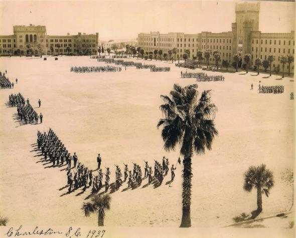 Cadet parade at The Citadel, 1939. Photo courtesy of The Citadel Archives and Museum, Charleston, South Carolina.