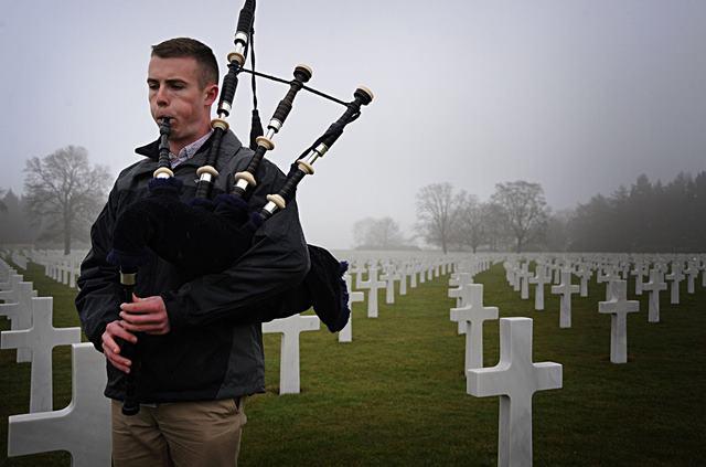 Citadel Cadet plays Amazing Grace at Henri-Chapelle American Cemetery