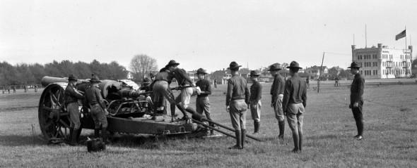 citadel coastal artillery cadets drilling circa 1923